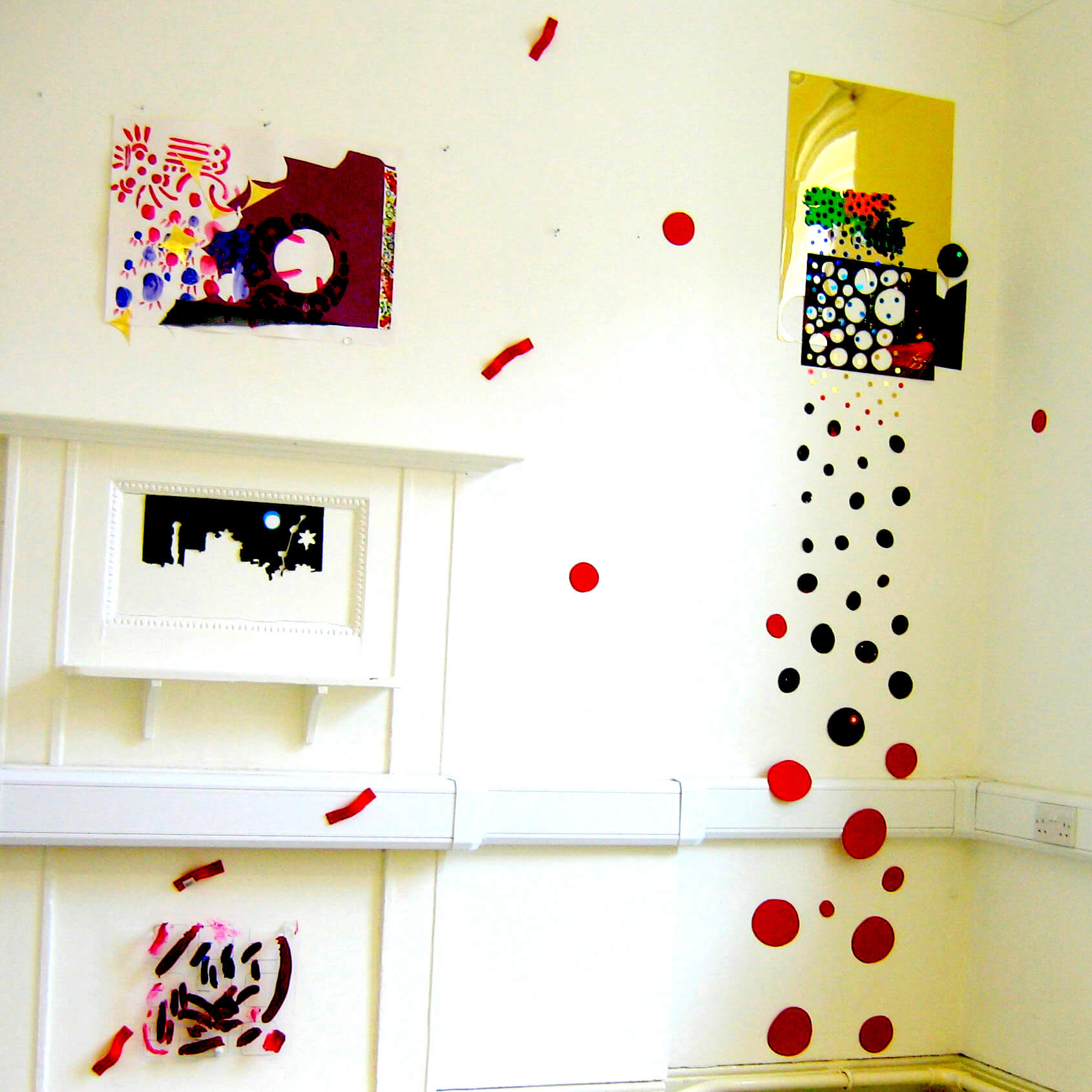 Zoomed In, 2005, Installation View, 2005, different types of paper, felt, acrylic paints and plastic circles