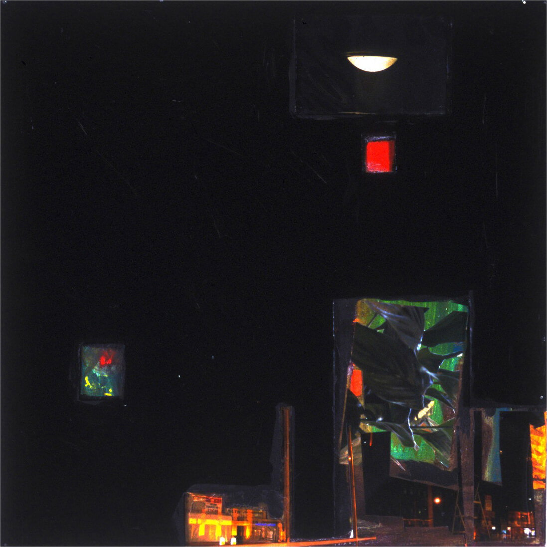 Room with Many views, 2005, photo prints, acrylic paints and foam board on canvas, 51 x 51 cm