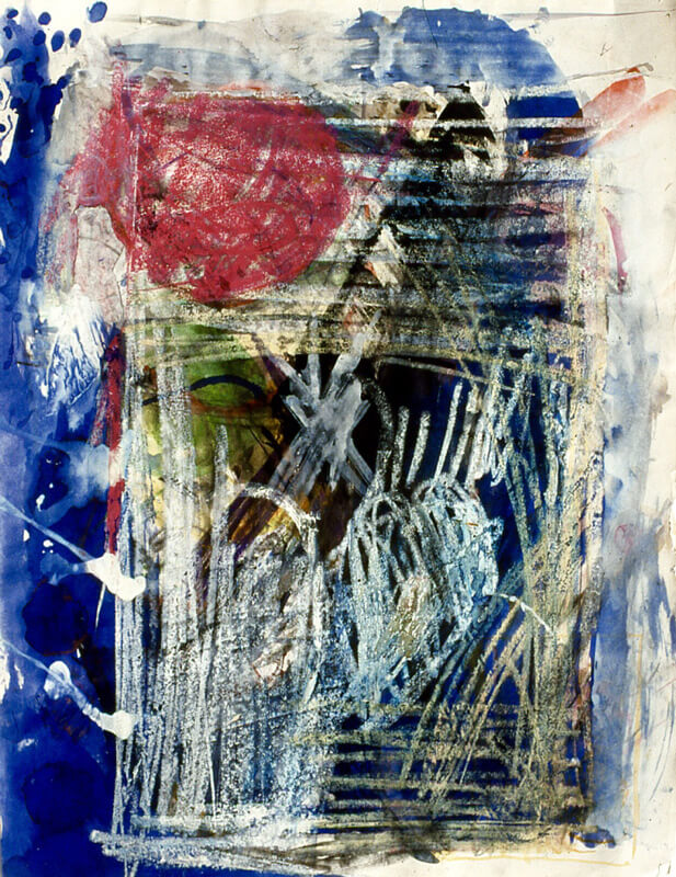 1999, acrylic paint, inks, and oil crayons on paper, 59 x 85cm