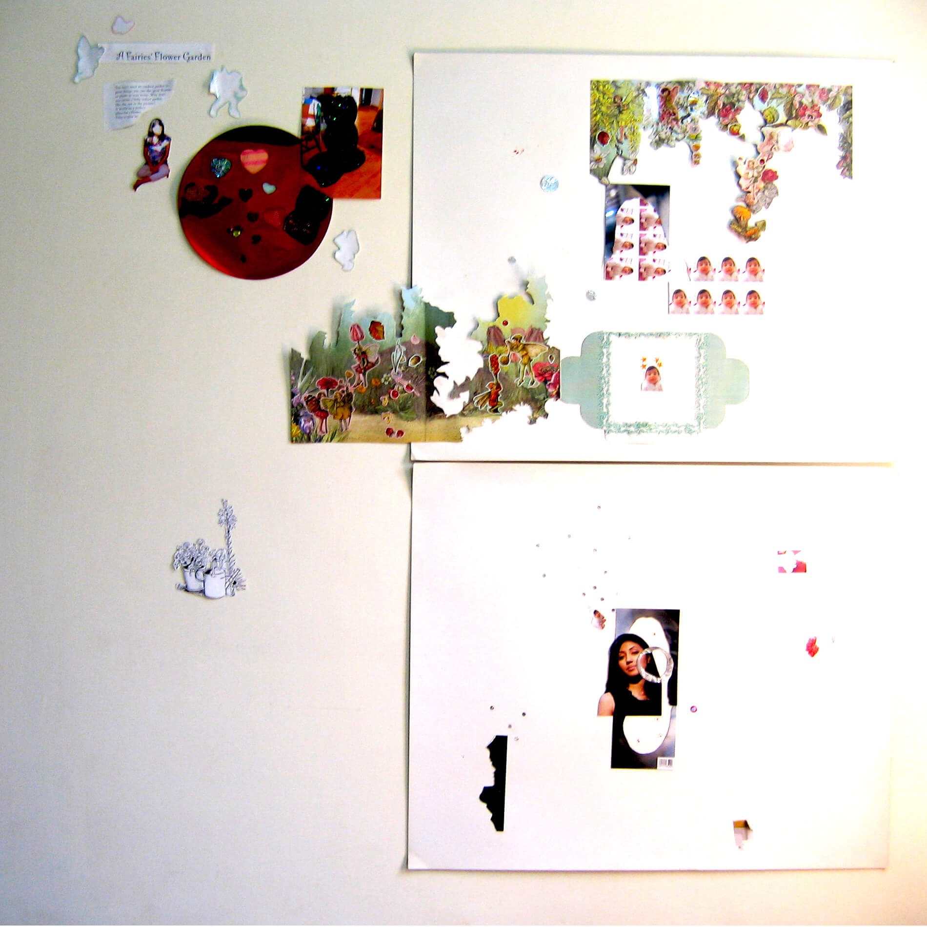 Butterflies, Fairies and Hearts, 2007, different types of paper, fabric, plastic and foam stickers and photograph prints, installation view, variable size