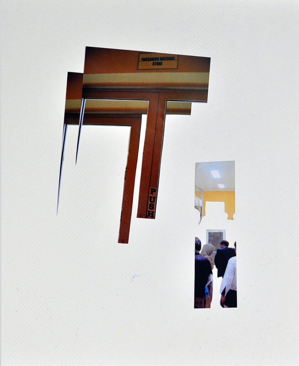 Showing Around, 2009, photo collage on a album page, 33 x 32 cm