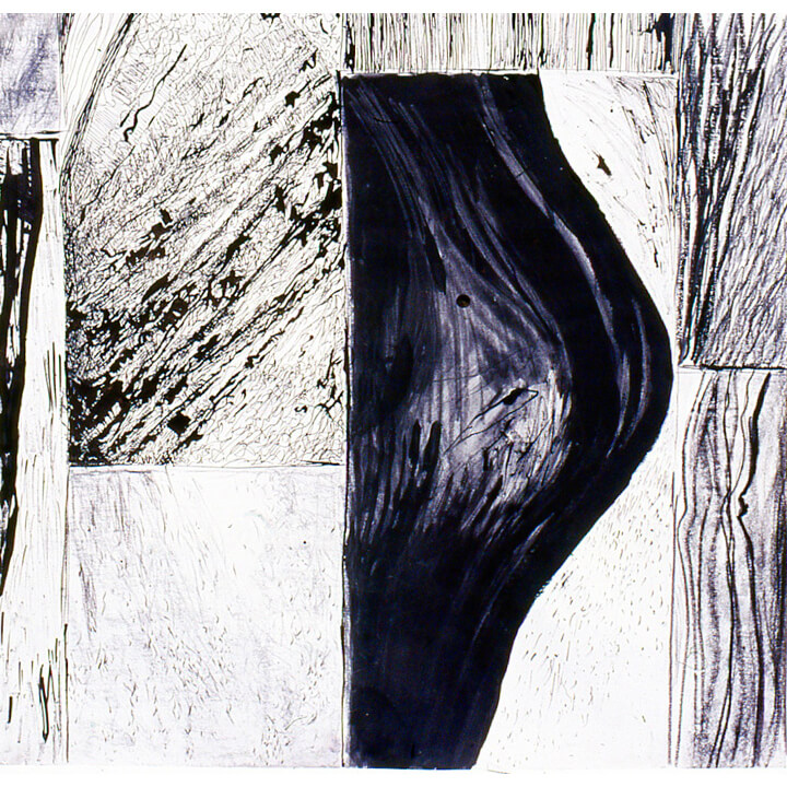Sections, 1997, black ink and charcoal on paper, 60 x 60cm
