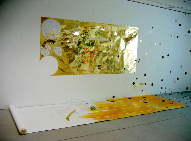 Vision of the Light, Installation View, 2005, different types of paper, acrylic paint, and metal wire, variable size