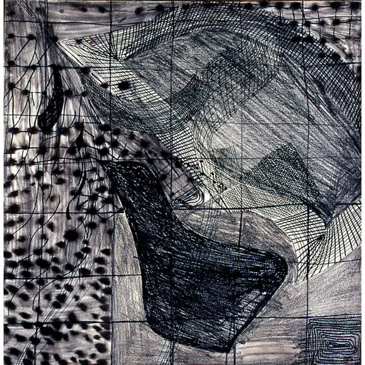 Black, 1997, black ink and charcoal on paper, 60 x 60cm