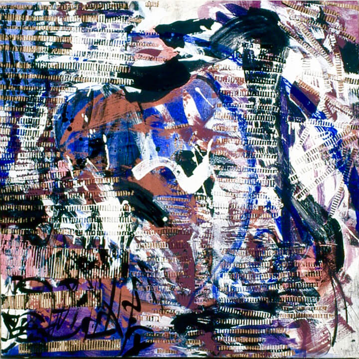 I let it out, 1998, acrylic paint, glue and corrugated sheet, 92 x 92cm