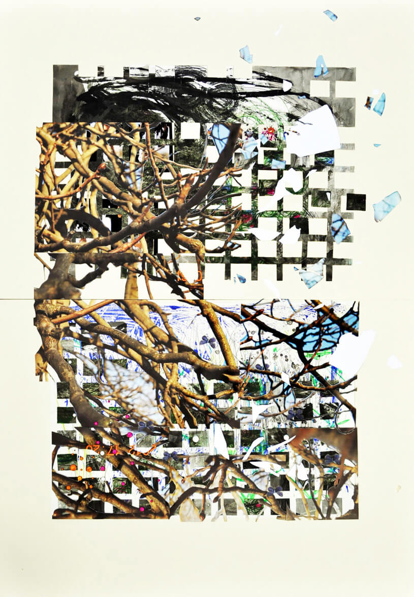 Autumn in Hyde Park, 2014, photo collage on card sheet, 119 x 84 cm