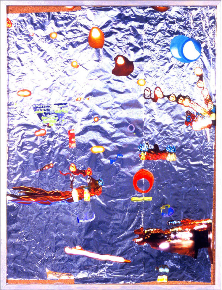 Floating Worlds, 2005, silver foil, paper and acrylic paint on cork board, 64 x 49 cm