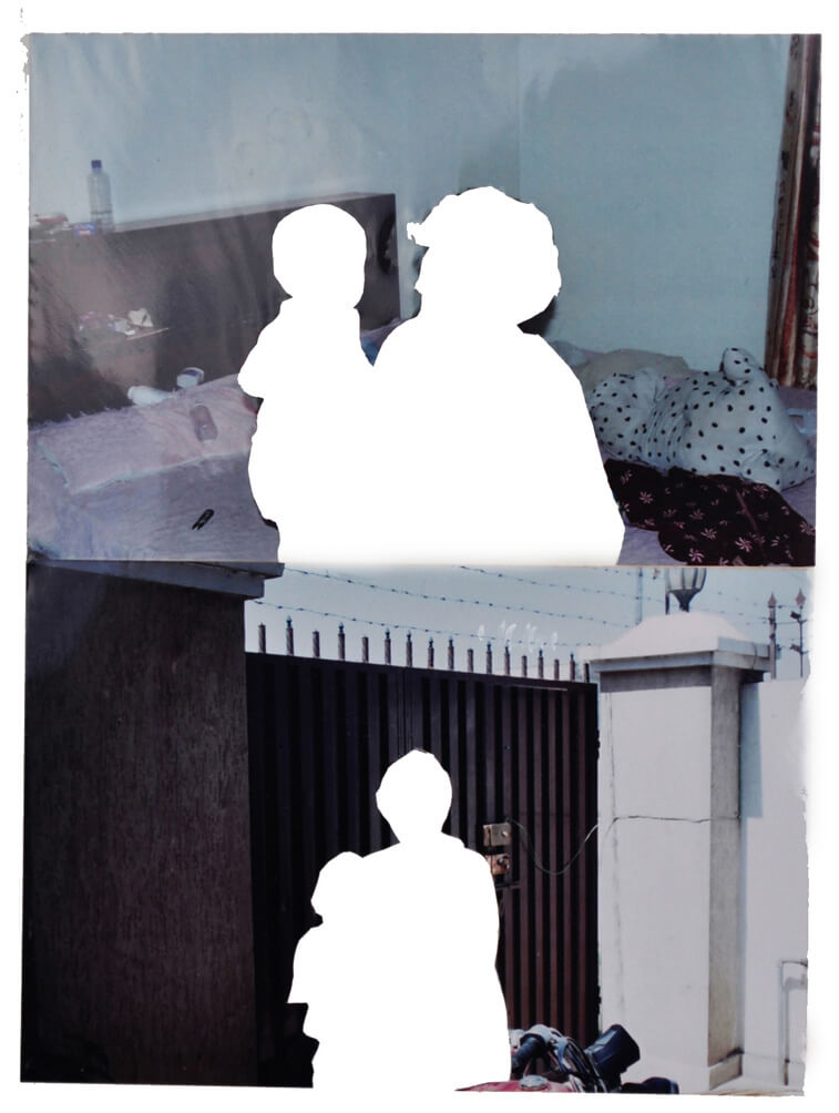 My Mother and Saad, 2008, photo collage on album page, 33 x 32 cm