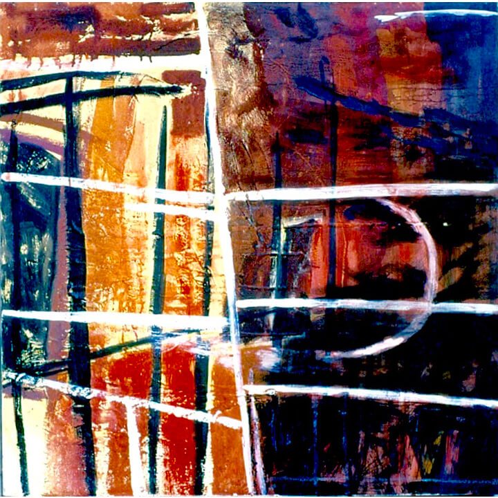 Divided 2, 1997, acrylic paints and black ink, 92 x 92cm
