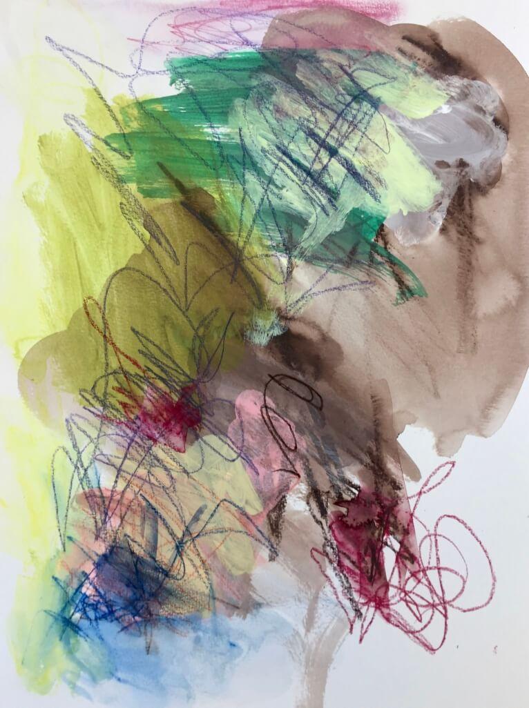 Untitled, 2016, acrylic paints and colour pencils, 32 x 24cm