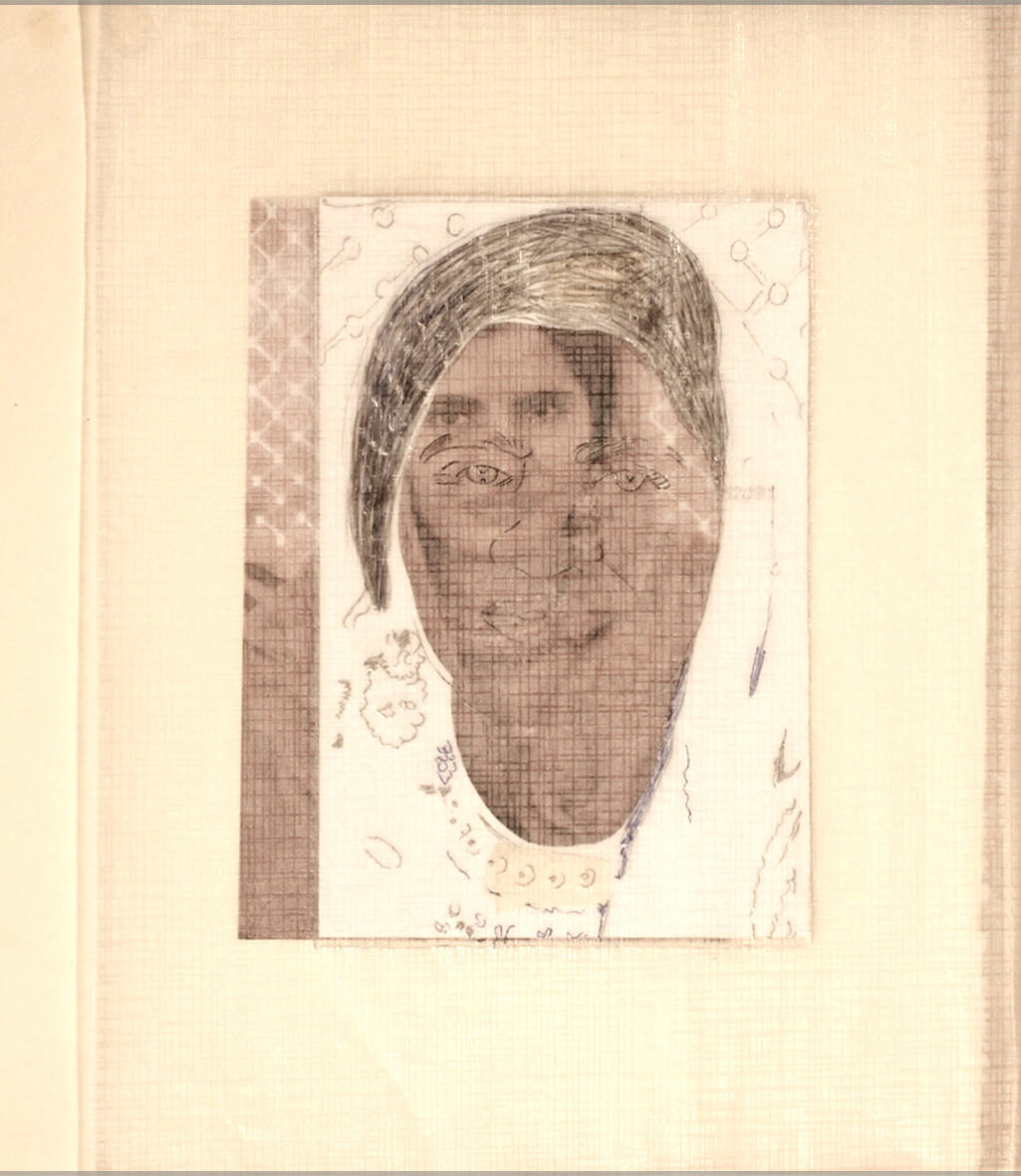 Ayesha, 2012, photo prints and blue pen on a album page, 26 x 21 cm