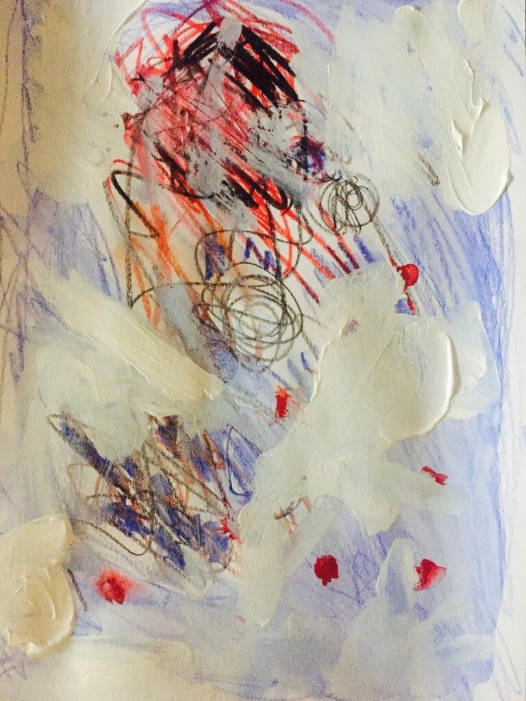 Untitled, 2016, acrylic paints and colour pencils on paper, 32 x 24cm