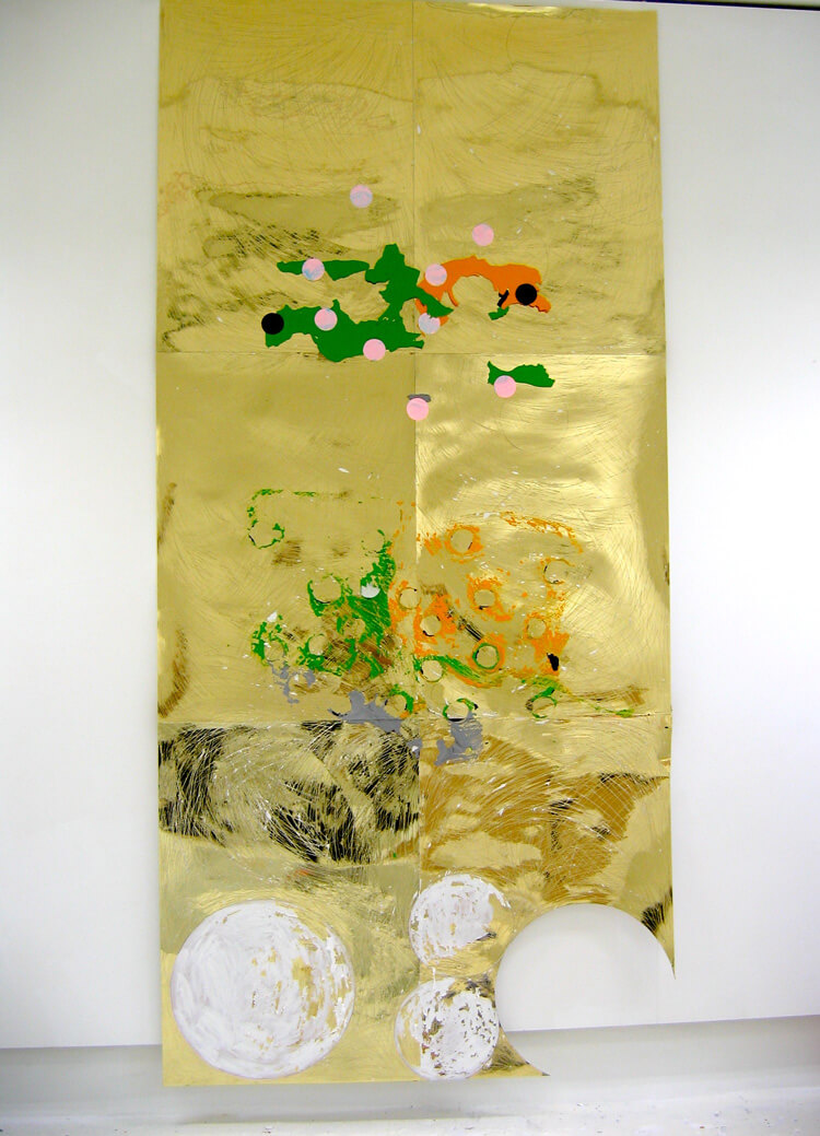 Circles in Gold, 2005, golden card sheets, acrylic paint