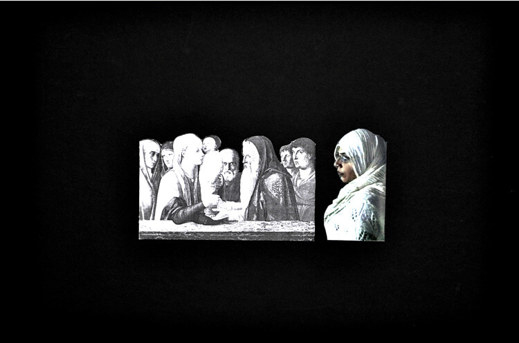 Observer, 2011, photo collage on a card sheet, 31 x 22 cm