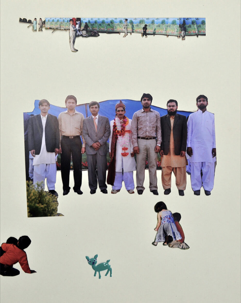 The Groom and the Guests, 2012, photo prints and foam sticker on a Album page, 25 x 19 cm