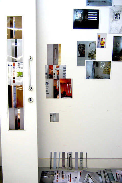 Autobiographical, 2005, photographs and paper, wood and chrome, variable size
