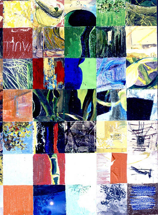 Grid, 1997, acrylic paints, crayons, inks and colour pencils, 151 x 80cm